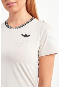 T-shirt Aeronautica Militare w kolorowe wzory, casualowy, na co dzień