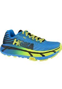 Niebieskie buty do biegania Hoka One One w kolorowe wzory, z cholewką