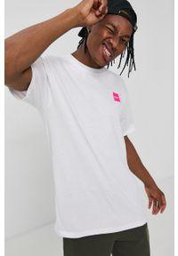HUF - T-shirt bawełniany. Okazja: na co dzień. Kolor: biały. Materiał: bawełna. Wzór: nadruk. Styl: casual