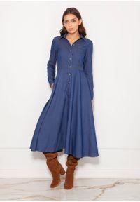e-margeritka - Sukienka koszulowa długa elegancka jeans - 36. Okazja: do pracy. Materiał: jeans. Długość rękawa: długi rękaw. Typ sukienki: koszulowe. Styl: elegancki. Długość: maxi