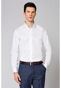 Biała koszula Lancerto z kontrastowym kołnierzykiem, elegancka
