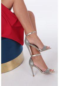 Casu - Złote sandały szpilki karnawałowe brokatowe z paskiem wokół kostki casu. Okazja: na karnawał. Zapięcie: pasek. Kolor: złoty. Obcas: na szpilce