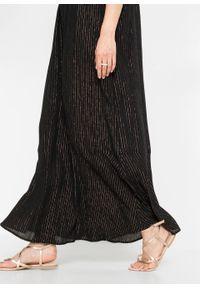 Długa sukienka z połyskiem bonprix czarny. Kolor: czarny. Długość: maxi