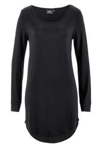 Długi shirt, długi rękaw bonprix czarny. Kolor: czarny. Materiał: wiskoza. Długość rękawa: długi rękaw. Długość: długie