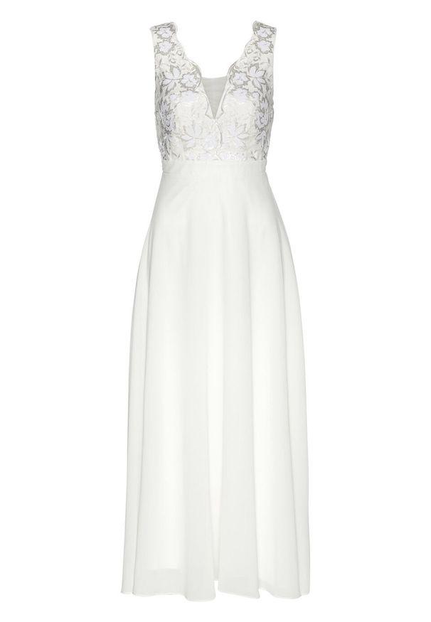 Sukienka szyfonowa z cekinami bonprix biel wełny. Okazja: na ślub cywilny, na wesele. Typ kołnierza: dekolt gorset. Kolor: biały. Materiał: wełna, szyfon. Typ sukienki: gorsetowe. Styl: elegancki