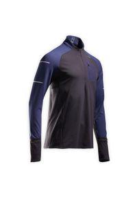 KIPRUN - Koszulka do biegania z długim rękawem męska Kiprun Warm Light cienka ocieplana. Kolor: czarny, niebieski, wielokolorowy. Materiał: elastan, poliester, materiał. Długość rękawa: długi rękaw. Długość: długie. Sezon: zima. Sport: fitness