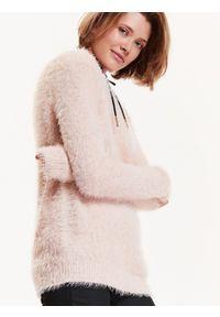 Różowy sweter TROLL elegancki, na jesień, w kolorowe wzory