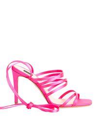 Pinko - PINKO - Różowe sandały na szpilce Clematis. Okazja: na imprezę. Zapięcie: pasek. Kolor: różowy, wielokolorowy, fioletowy. Materiał: tkanina, wiskoza, jedwab. Wzór: paski. Obcas: na szpilce