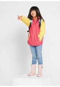 Kurtka przeciwdeszczowa dziewczęca bonprix żółty tulipan - różowy hibiskus wzorzysty. Kolor: żółty