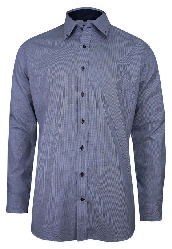 Niebieska elegancka koszula Ranir w kratkę, z długim rękawem, długa, na spotkanie biznesowe