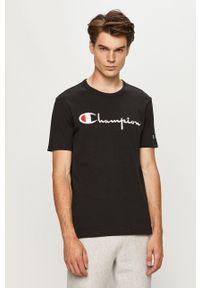 Champion - T-shirt. Okazja: na co dzień. Kolor: czarny. Materiał: dzianina. Wzór: aplikacja. Styl: casual