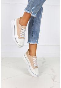 Casu - Beżowe trampki creepersy na platformie buty sportowe sznurowane casu bl228p. Kolor: beżowy. Obcas: na platformie. Styl: sportowy