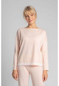 MOE - Bluzka od Piżamy Wykończona Koronką - Brzoskwiniowa. Kolor: pomarańczowy. Materiał: koronka. Wzór: koronka