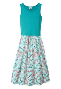 Letnia sukienka dziewczęca bonprix zielony morski - pastelowy miętowy z nadrukiem. Kolor: zielony. Wzór: nadruk. Sezon: lato