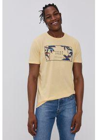 Jack & Jones - T-shirt. Okazja: na co dzień. Kolor: beżowy. Wzór: nadruk. Styl: casual