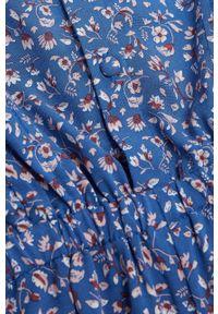 Niebieski kombinezon Mango Kids krótki, casualowy, w kwiaty, na co dzień
