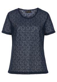Niebieska bluzka bonprix krótka, elegancka, z krótkim rękawem