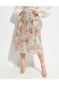 NEEDLE & THREAD - Spódnica midi w kwiaty. Stan: podwyższony. Kolor: zielony. Materiał: tiul, materiał. Wzór: kwiaty