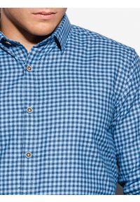 Ombre Clothing - Koszula męska w kratę z długim rękawem K563 - błękitna - XXL. Kolor: niebieski. Materiał: bawełna, poliester. Długość rękawa: długi rękaw. Długość: długie