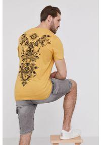 Żółty t-shirt medicine casualowy, na co dzień, z nadrukiem