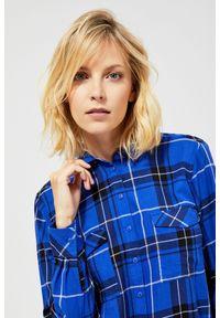 Niebieska koszula MOODO długa, w kratkę, z długim rękawem