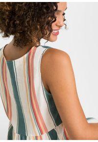 Długa sukienka z lnu bonprix biel wełny - niebieski w paski. Kolor: biały. Materiał: len, wełna. Wzór: paski. Długość: maxi