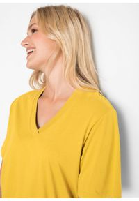 Długi shirt z dekoltem w szpic (5 sztuk), krótki rękaw bonprix żółty kanarkowy + kremowy miętowy + morelowy + czarny + biały. Kolor: żółty. Długość rękawa: krótki rękaw. Długość: krótkie #4