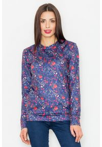 Figl - Granatowa Klasyczna Bluza w Kolorowe Kwiaty. Kolor: niebieski. Materiał: poliester. Wzór: kwiaty, kolorowy. Styl: klasyczny