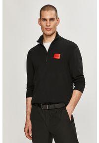 Czarna bluza nierozpinana Hugo casualowa, bez kaptura, gładkie