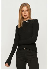 Czarny sweter Karl Lagerfeld klasyczny, długi, z długim rękawem