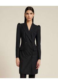 Luisa Spagnoli - LUISA SPAGNOLI - Dwurzędowa sukienka GIORDY. Kolor: czarny. Materiał: wełna. Wzór: prążki. Długość: mini