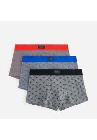 Bawełniane bokserki ze wzorem 3 pack - Szary