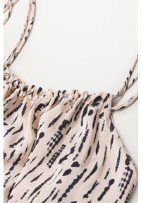mango - Mango - Sukienka Dreams. Kolor: beżowy. Materiał: włókno. Długość rękawa: na ramiączkach