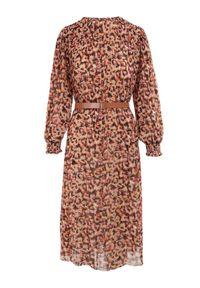 Born2be - Beżowa Sukienka Z Paskiem Canyle. Kolor: beżowy. Materiał: tkanina. Długość rękawa: długi rękaw. Wzór: kolorowy. Długość: mini