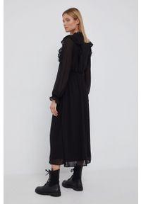 Vila - Sukienka. Okazja: na co dzień. Kolor: czarny. Materiał: tkanina, poliester. Długość rękawa: długi rękaw. Wzór: gładki. Typ sukienki: proste. Styl: casual