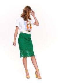 TOP SECRET - Koronkowa spódnica. Okazja: na imprezę. Kolor: zielony. Materiał: koronka. Długość: do kolan. Wzór: aplikacja. Sezon: wiosna. Styl: elegancki