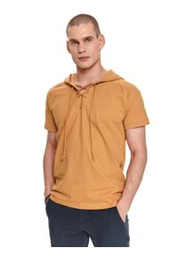 TOP SECRET - Cienka bluza z kapturem. Typ kołnierza: kaptur. Kolor: beżowy. Materiał: bawełna, tkanina. Długość rękawa: krótki rękaw. Długość: krótkie. Sezon: lato. Styl: wakacyjny