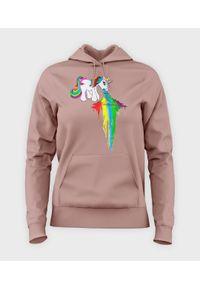 MegaKoszulki - Bluza damska z kapturem Rainbow vomit. Typ kołnierza: kaptur