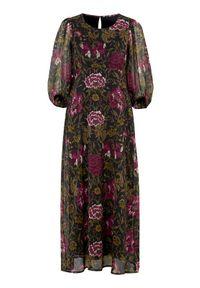 Cellbes Szyfonowa sukienka w kwiaty z bufiastymi rękawami Czarny we wzory female czarny/ze wzorem 38/40. Kolor: czarny. Materiał: szyfon. Wzór: kwiaty