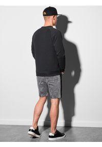 Ombre Clothing - Bluza męska bez kaptura B1156 - czarna - XXL. Typ kołnierza: bez kaptura. Kolor: czarny. Materiał: dresówka, bawełna, jeans, dzianina, poliester