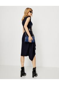 Niebieska sukienka Alexander McQueen w paski, midi, rockowa