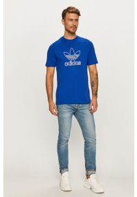 Niebieski t-shirt adidas Originals z nadrukiem, casualowy, z okrągłym kołnierzem, na co dzień