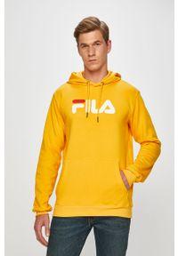 Żółta bluza nierozpinana Fila z kapturem, casualowa, z nadrukiem, na co dzień