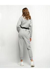 Pinko - PINKO - Szare spodnie dresowe Bugs. Stan: podwyższony. Kolor: szary. Materiał: dresówka. Wzór: aplikacja