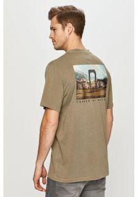 Zielony t-shirt Element z motywem z bajki, casualowy, na co dzień