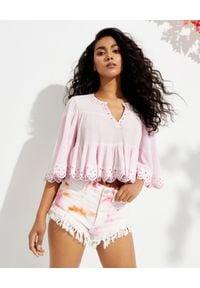 ISABEL MARANT - Jasnoróżowa bluzka ze zdobieniem Lashay. Kolor: fioletowy, różowy, wielokolorowy. Materiał: bawełna, jedwab. Wzór: aplikacja