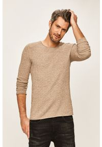 Beżowy sweter Selected casualowy, z okrągłym kołnierzem, na co dzień