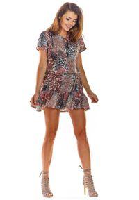 Awama - Brązowa Zwiewna Wzorzysta Sukienka z Wiązaniem. Kolor: brązowy. Materiał: poliester, elastan. Wzór: kwiaty