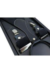 Modini - Czarne klasyczne szelki męskie do spodni SZ1A. Kolor: czarny. Materiał: skóra, guma