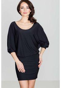 Czarna sukienka Katrus z długim rękawem, casualowa, na co dzień, mini